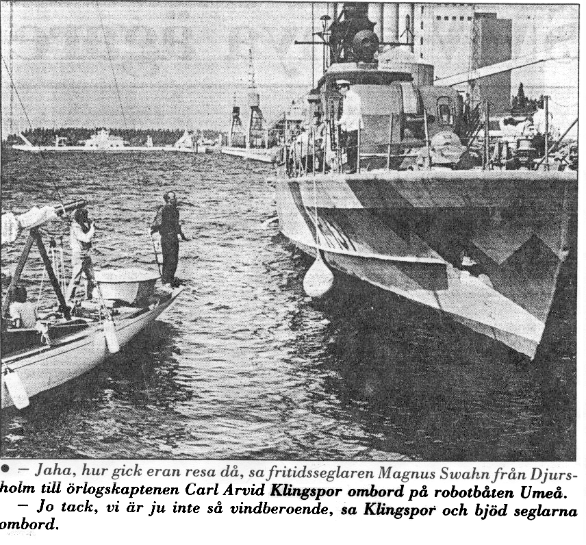 Umeå tidning dokumenterade besöket av HMS Umeå och SY Trumph